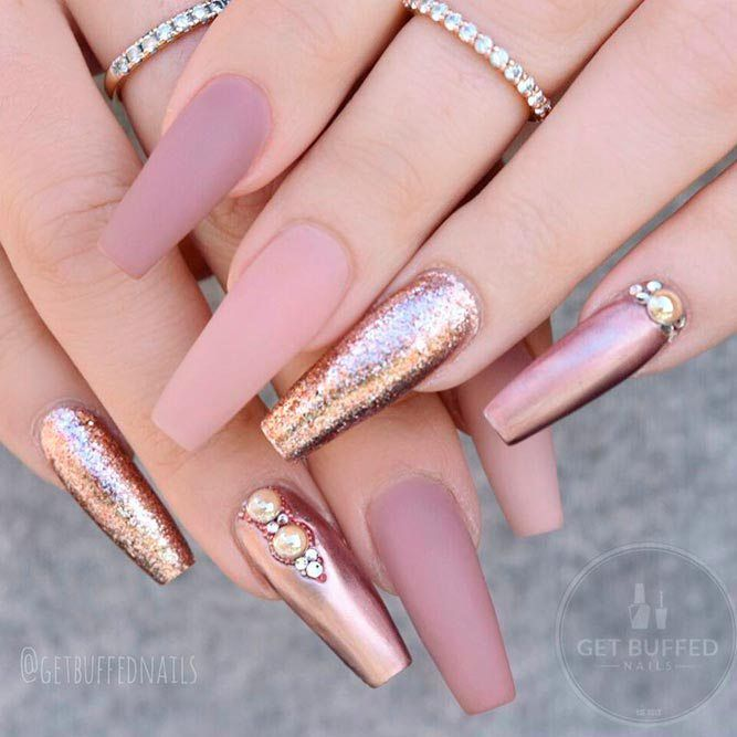 Rose Gold Nails With Rhinestones And Studs 27 Prettiest Rose Gold Nails Designs You Should T Rose Gold Nails Design Gold Nail Designs Rose Gold Nails Acrylic