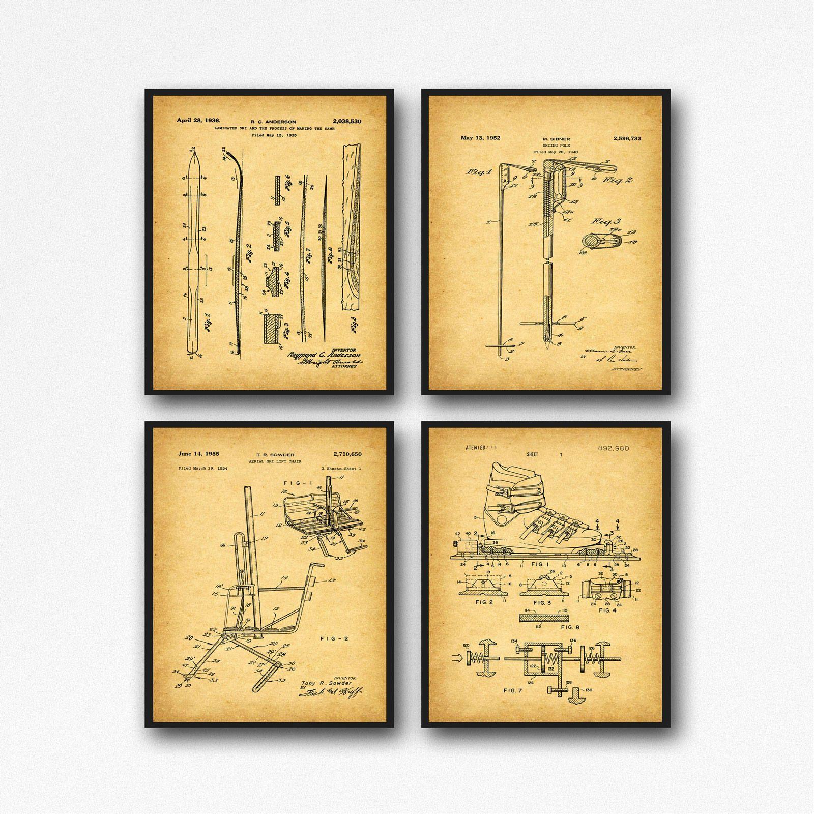 Set of 4 Ski Patent Posters Ski Cabin Decor Ski Wall Art Skiing ...