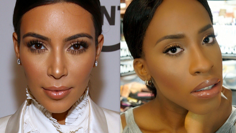 our black version! kim kardashian inspired makeup tutorial | beauty