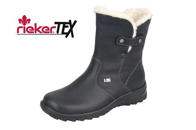 0fba90a257 Čierne kožené čižmy Rieker s technológiou RiekerTEX