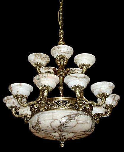 Century, French Bronze & Alabaster Chandelier -Beautiful antique  fifteen-light French bronze chandelier with alabaster shades. - Beautiful Antique Victorian Fifteen-light French Bronze Chandelier