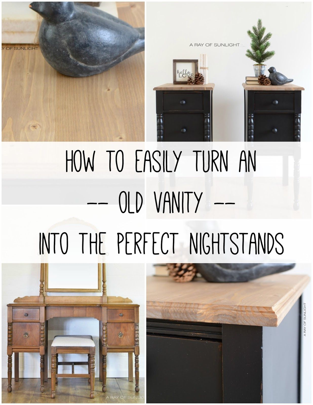 Vintage Vanity Turned Nightstands For The Home Old