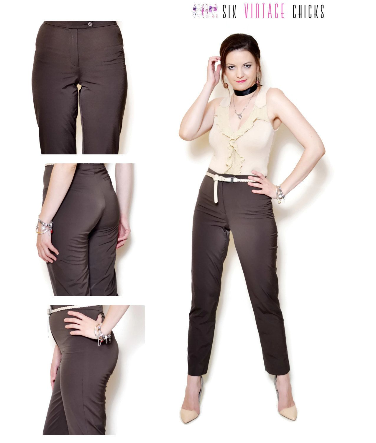 6eb615f53c53d cigarette pants women 90s clothing boho pants formal high waisted vintage  Minimalist Brown womens Trousers Size Small by SixVintageChicks on Etsy