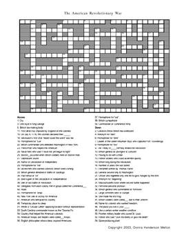 American Revolution Crossword Puzzle  American revolution