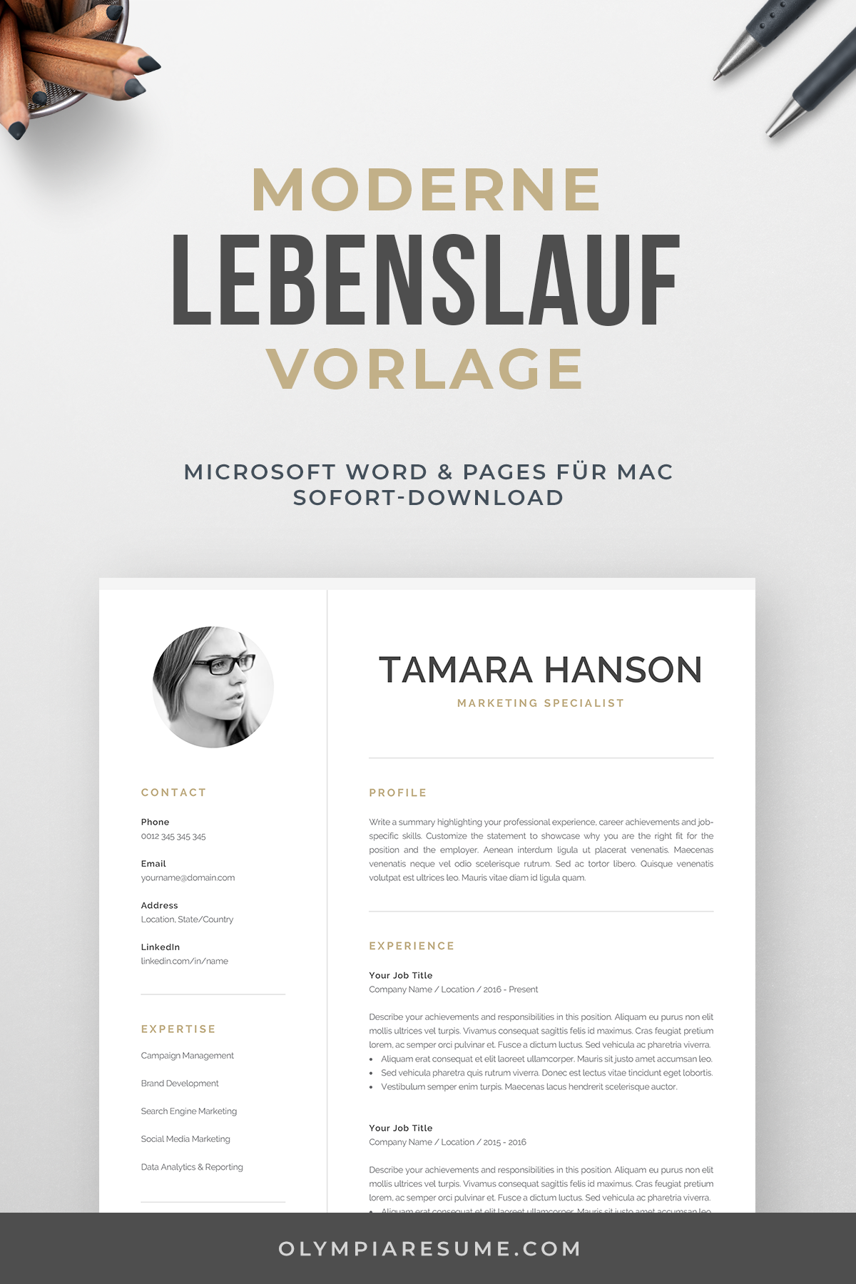 Modern Cv Template With Photo 1 2 Page Resume Etsy Modern Cv Template One Page Resume Template Creative Cv Template