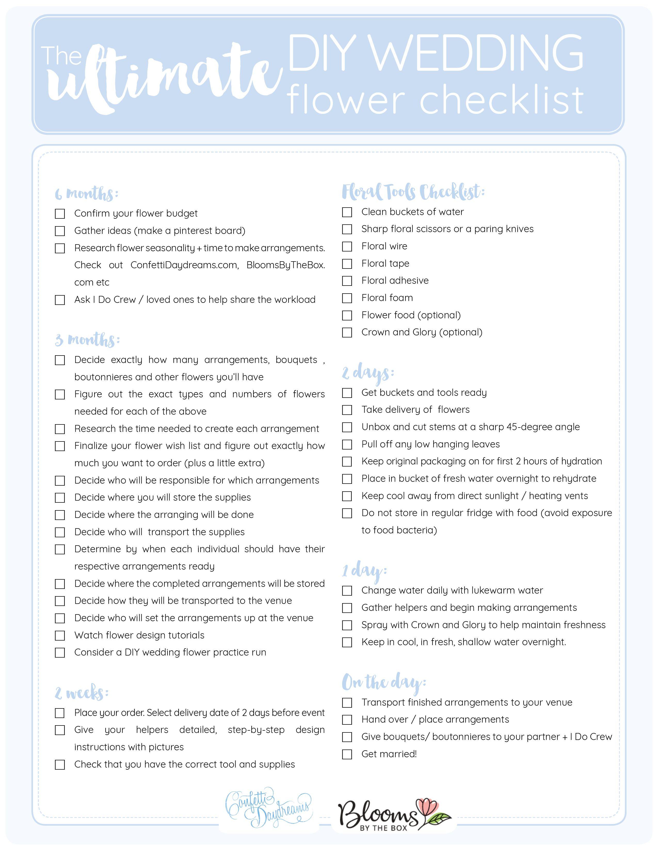 The Ultimate Diy Wedding Flower Checklist Printable Wedding Flower Guide Wedding Checklist Diy Wedding