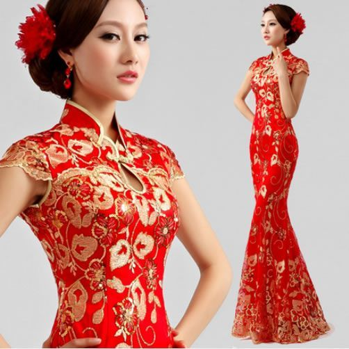 a0715e51c Westernized Chinese Wedding Dress. I would choose a different brocade  pattern but the style is