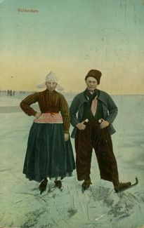 Volendam, Netherlands postcard featuring national costume
