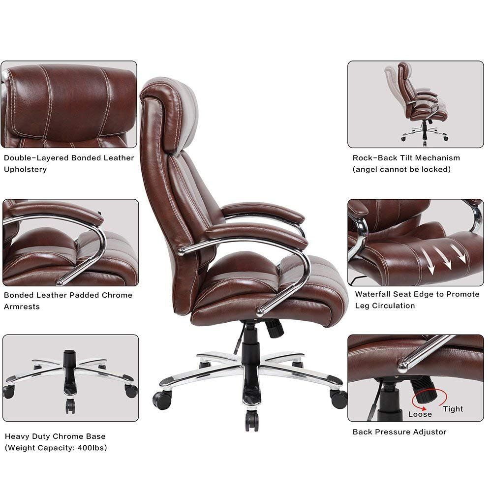Kerland Ergonomic Leather Executive Office Chair Big And Tall 400lb Thick Padded Adjustable Home Executive Office Chairs Office Chair Home Office Computer Desk