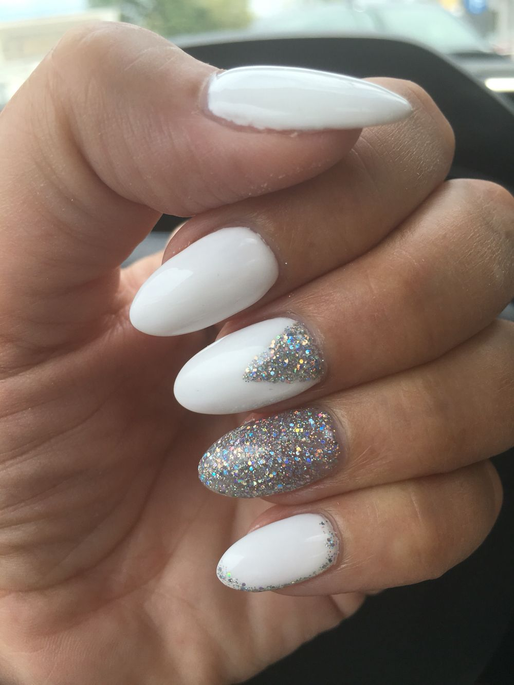 white nails with silver glitter design fingers and toes
