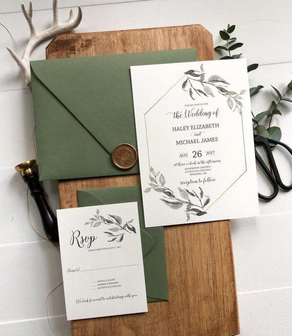 Greenery and Gold Wedding Invitation, Rustic and G