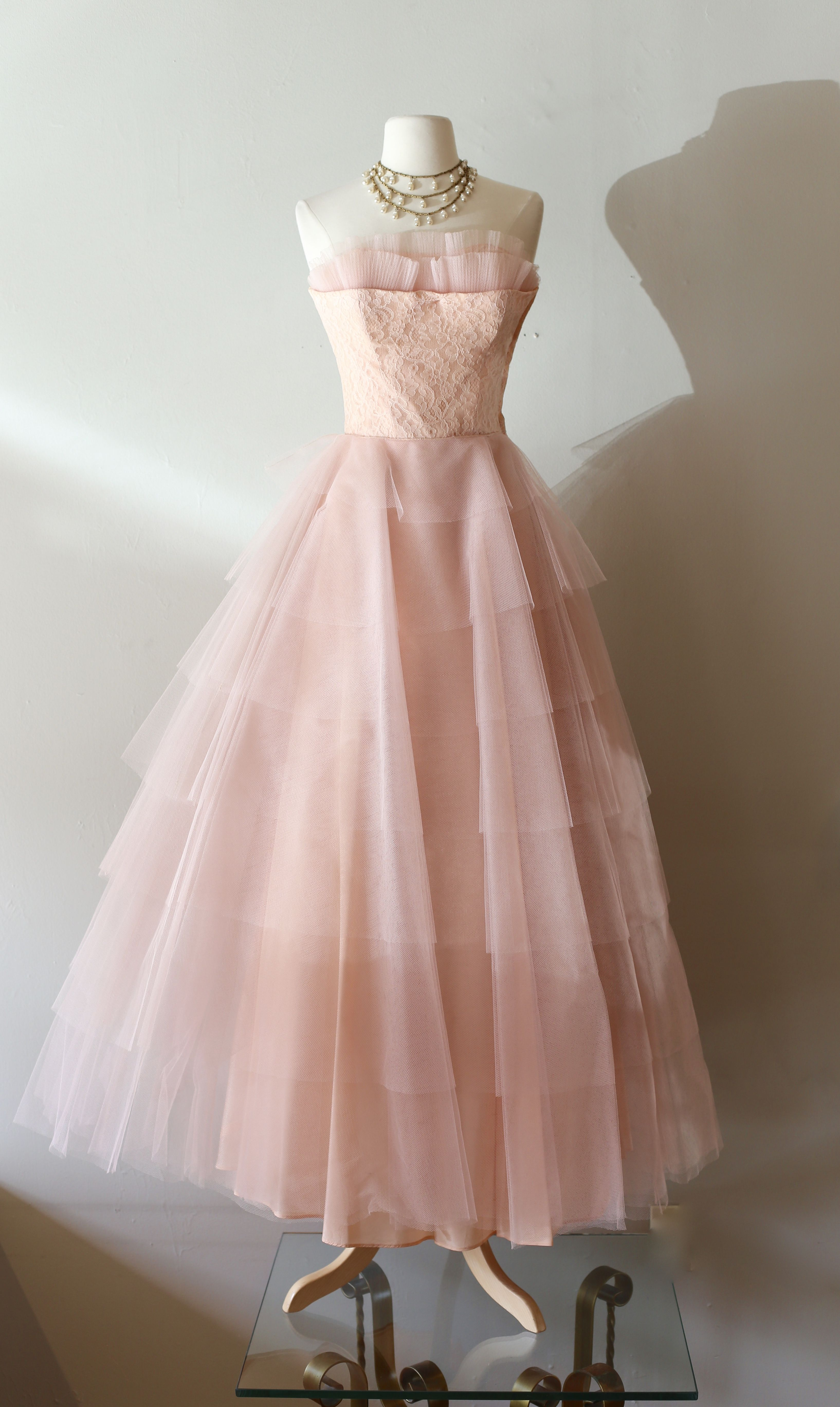 2991d163bba 1950 s Pink Prom Dress at Xtabay Vintage.