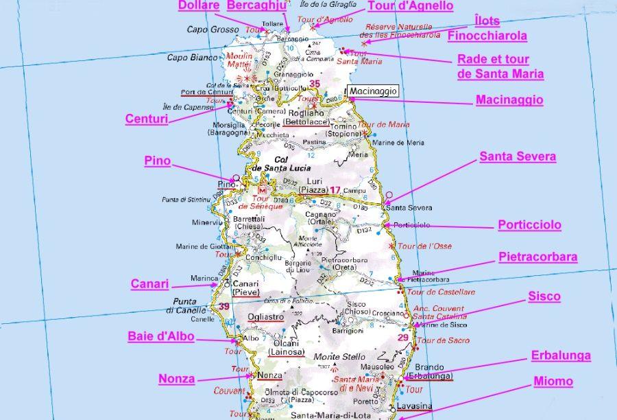 Carte Corse Erbalunga.Carte Du Cap Corse Carte De Corse Cap Corse Corse Et