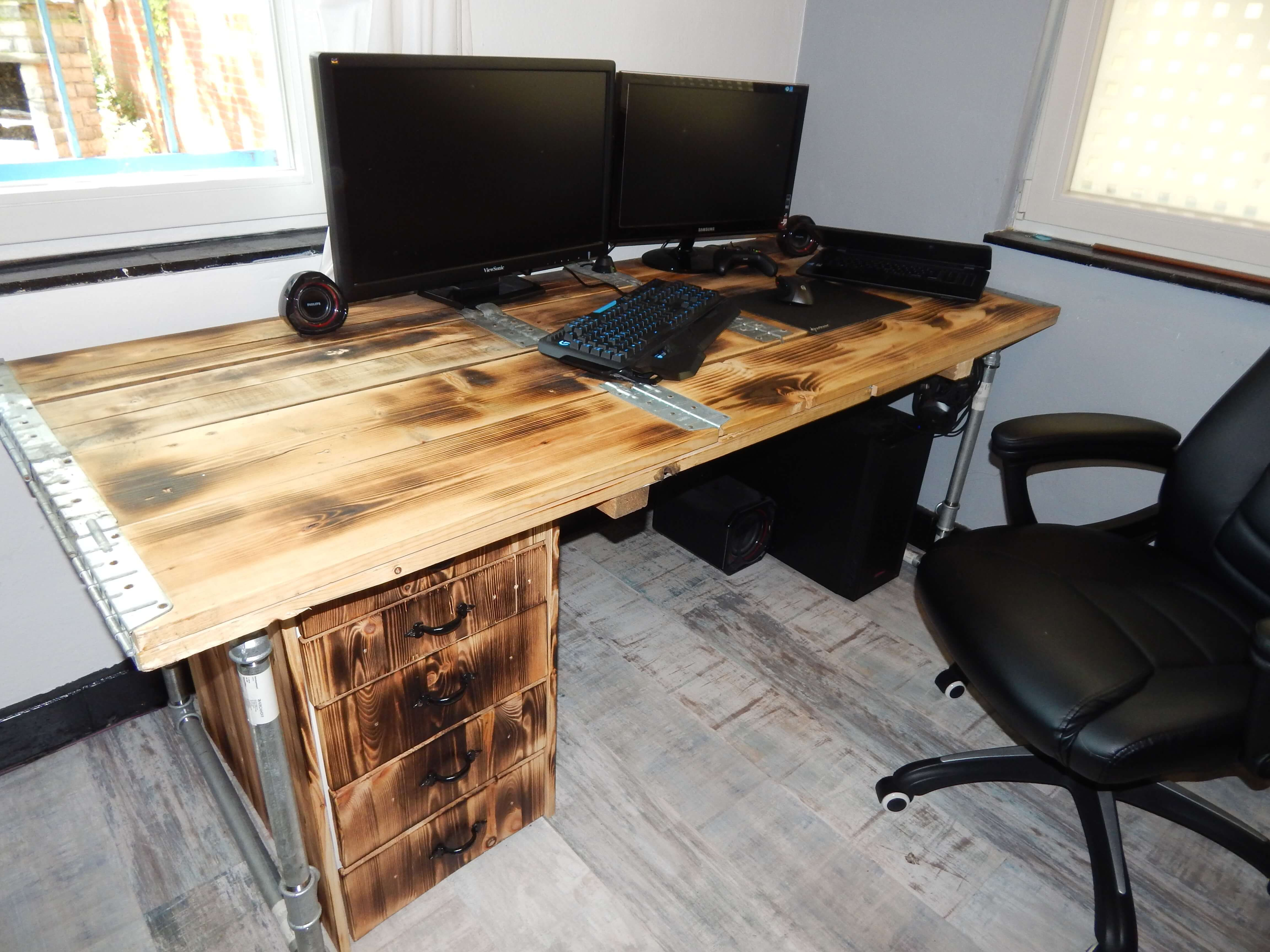 Paletten Schreibtisch Sitzen Standplatz Paletten Kasten