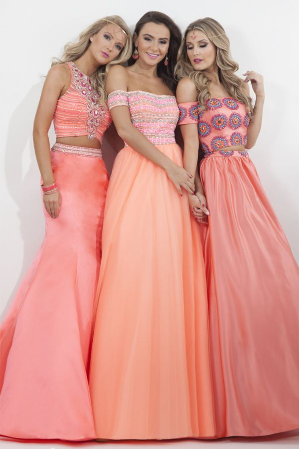 Beautiful trio in peach #ipaprom from Rachel Allan #prom #dresses ...