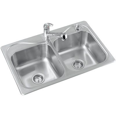 Sterling R11402-2PC-NA Southhaven Double-Basin Kitchen Sink ...