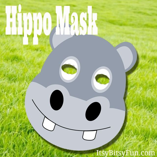 Printable Hippo Mask Masking, Craft and Animal masks - face masks templates