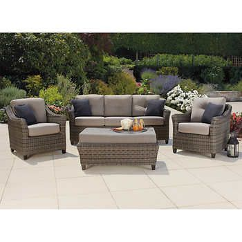 Fine Costco 1600 North Hampton 4 Piece Deep Seating Set Perfect Home Remodeling Inspirations Basidirectenergyitoicom