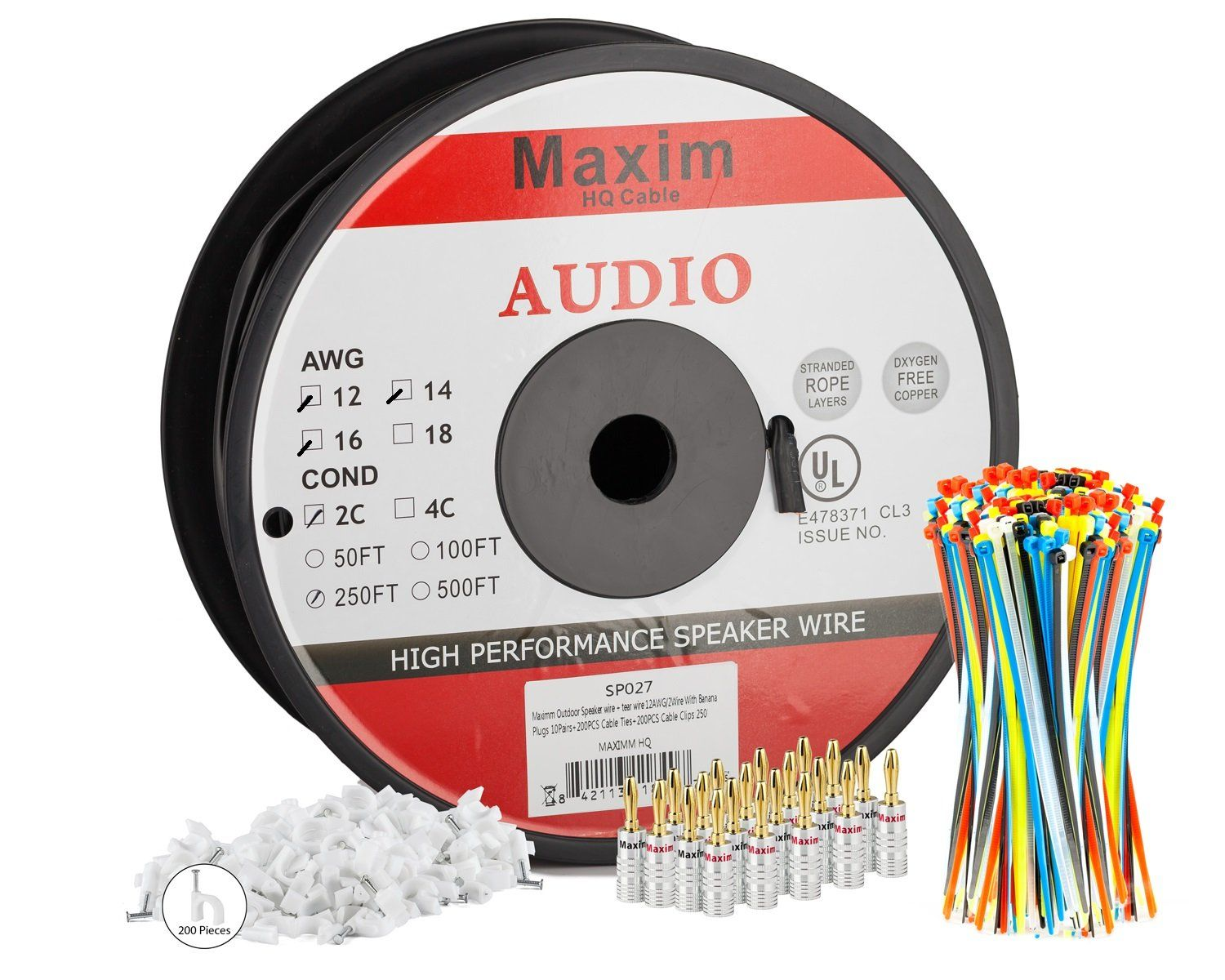 Maximm Direct Burial Speaker Wire - 250 Feet - 12AWG CL3 Rated 2 ...