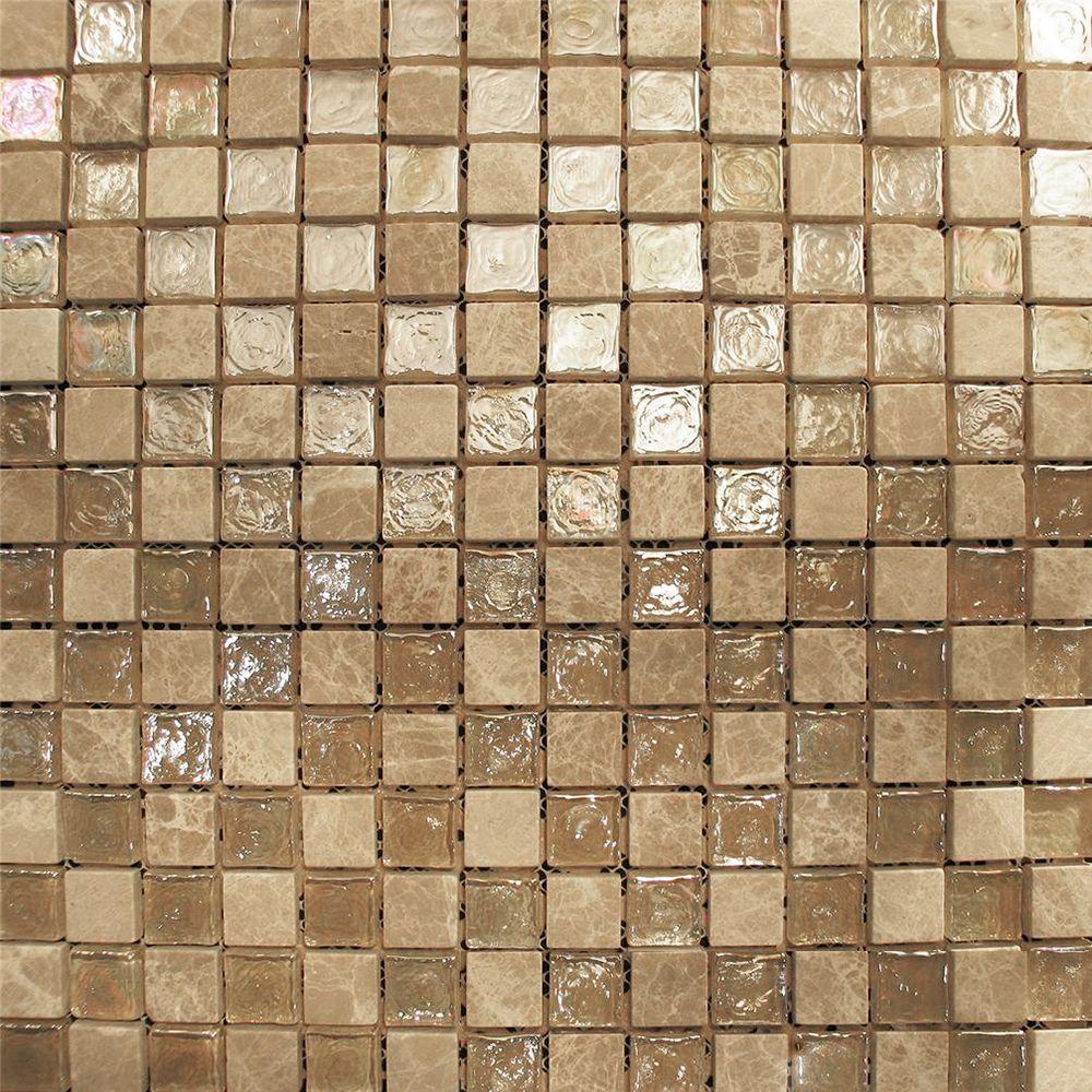 Sample Beige Iridescent u0026 Stone Glass Mosaic