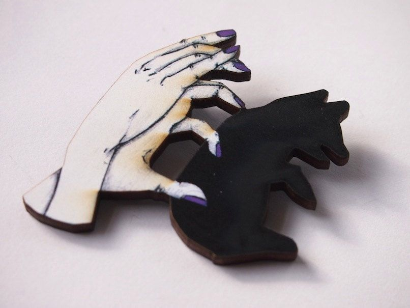Bear Shadow Puppets with Purple Nails Laser Cut Wood Brooch. $18.00, via Etsy.