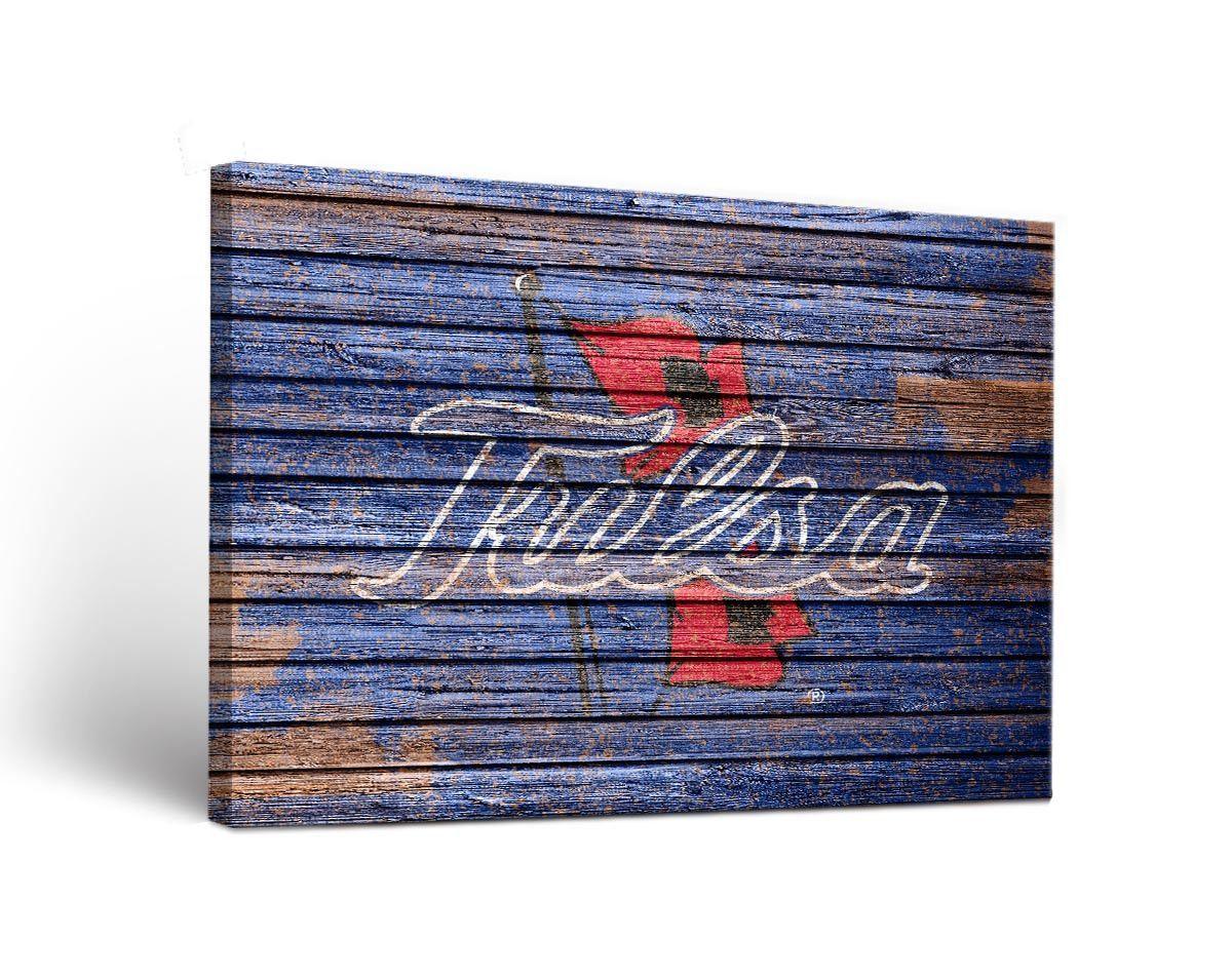 Tulsa Golden Hurricanes Weathered Wood Canvas Wall Art Print Rectangle