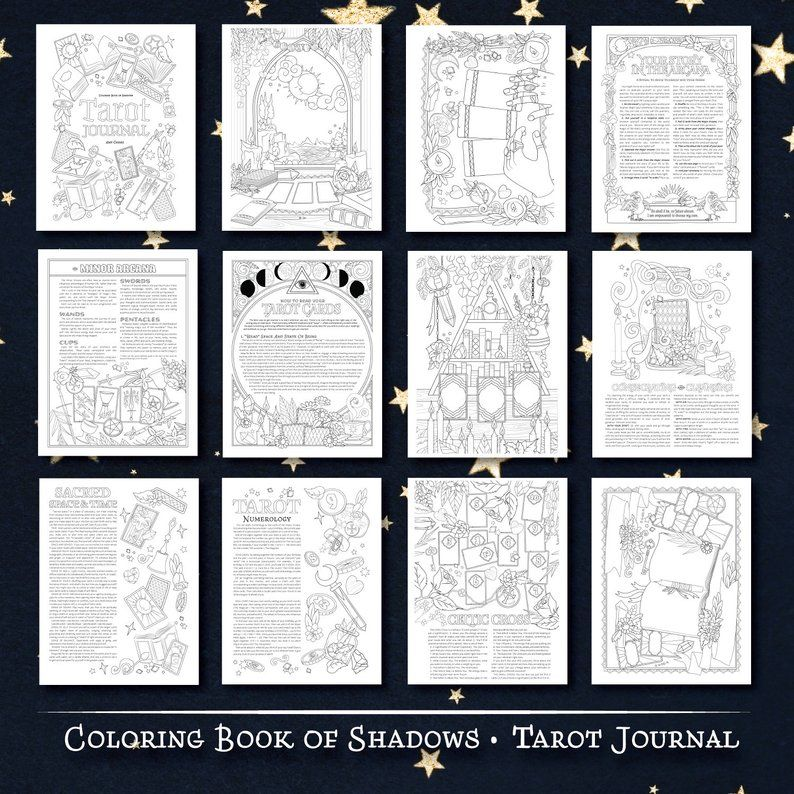 Coloring Book Of Shadows A5 Tarot Journal Etsy Book Of Shadows Coloring Books Tarot