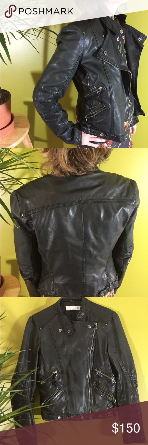 Zara Black Leather Jacket Size Small (With images) Black