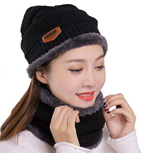 9e1e6551579 Muryobao Winter Hats and Scarf Set Knitted Beanie Hat Warm Skull Cap for  Women  Muryobao