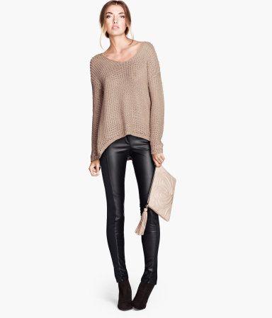 354df524c1b359 Imitation Leather Pants - H&M, Slim-fit pants in imitation leather with  stretch jersey stripes down sides. Regular waist and one back welt pocket.