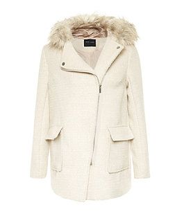 Stone Faux Fur Trim Hooded Biker Duffle Coat | New Look | fashion ...