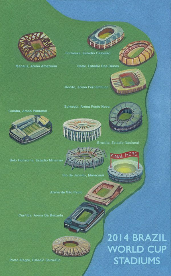 Illustrated map of brazil world cup 2014 world cup 14 pinterest futbol total illustrated map of brazil world cup 2014 gumiabroncs Gallery