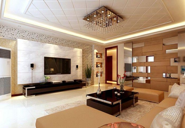 Uberlegen Wohnzimmer Einrichten Beispiele Luxuriös Beiges Farbschema Pflanzen