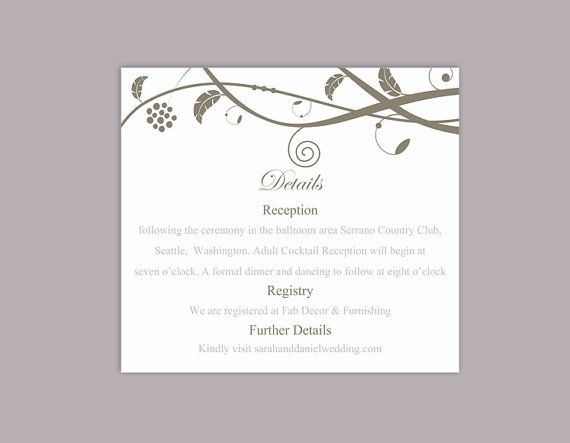 DIY Wedding Details Card Template Editable Word File Download - invitation information template