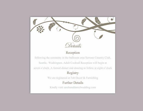 DIY Wedding Details Card Template Editable Word File Download - invitation information template