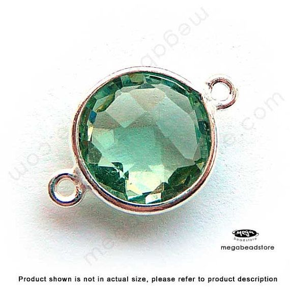 MANY WRAPPED GEMSTONE CONNECTORS HERE 17mm (10mm Stone) Green Amethyst (hydro) Bezel Green Gemstone Sterling Silver 2 loops F391S- 2 pcs