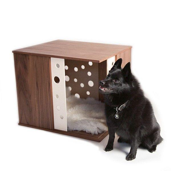 Wooden Dog Crate End Table, White Laminate With Circular Cutouts, Kodiak