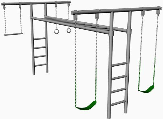 Hl 50 8 Foot Tall Heavy Duty Swing Set Adjustable Monkey Bars 2
