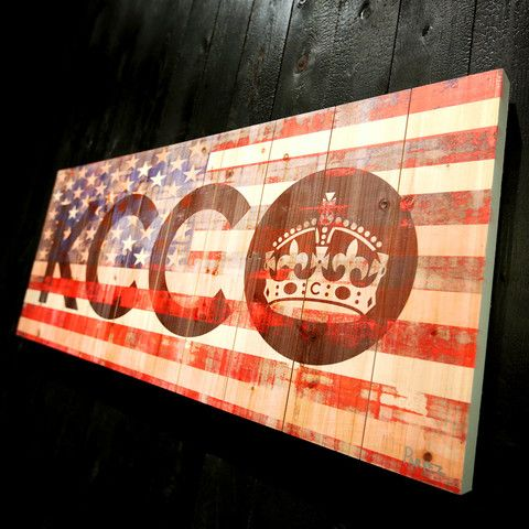 KCCO American Flag Wood Art/Pair this with the flag headboard (eventually)