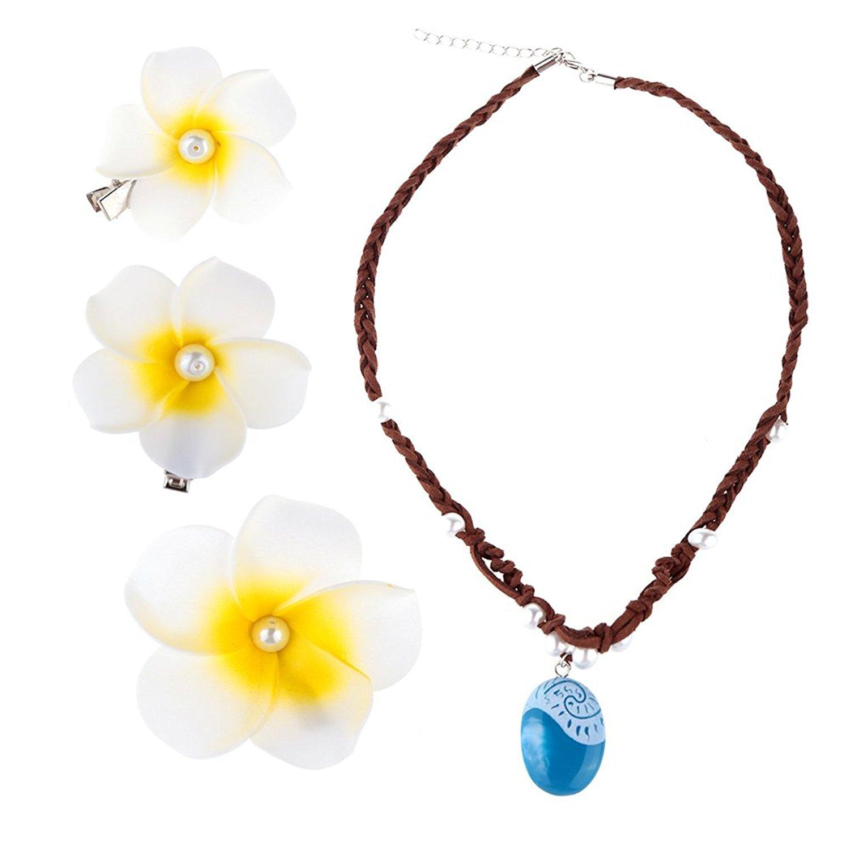 Hpwai moana necklace u hair flower clips setcostume dress up party