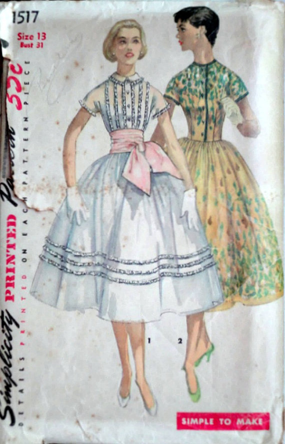 Vintage 50\'s Simplicity 1517 Sewing Pattern Junior | vestidos ...