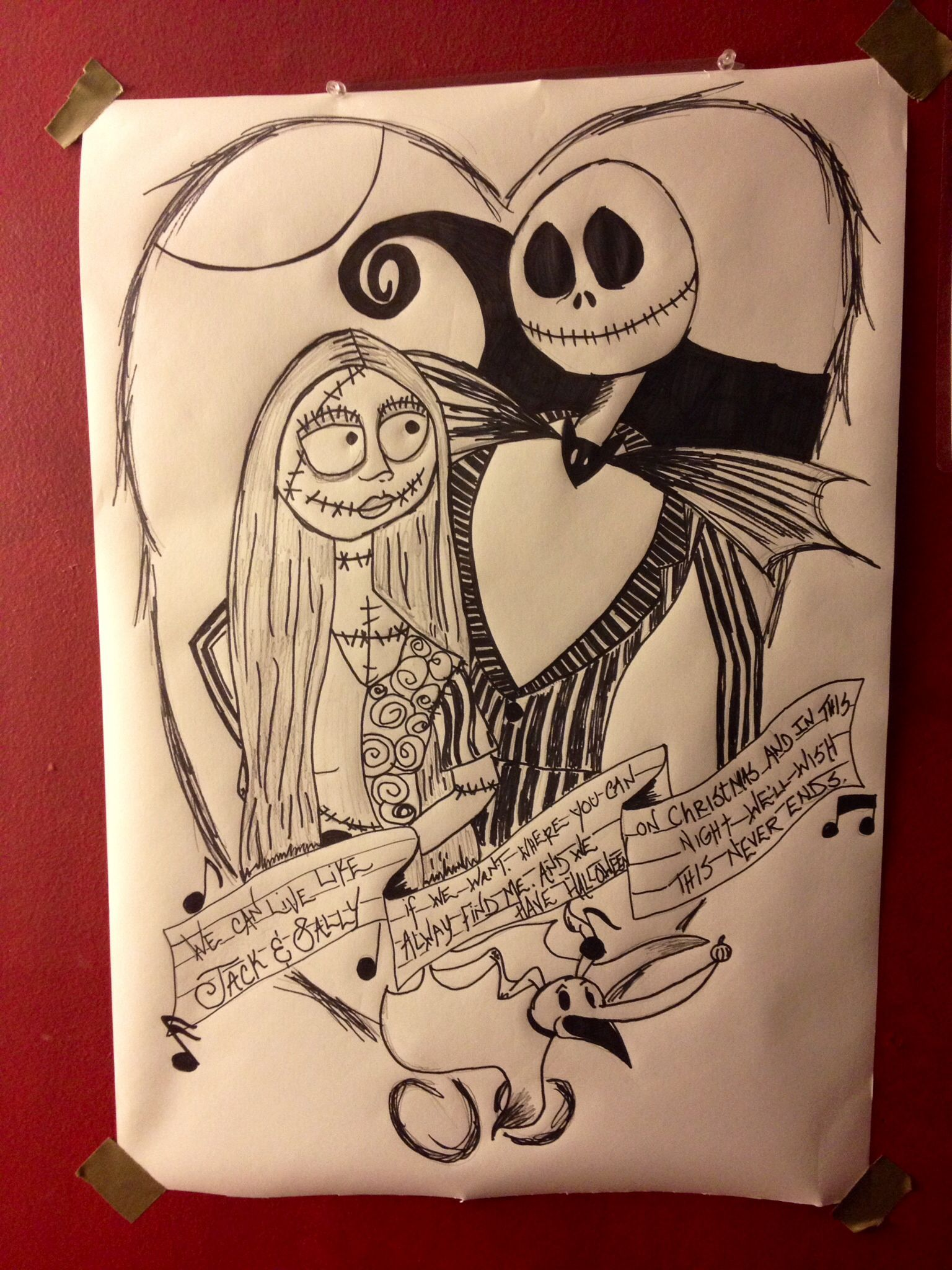 """Drew this for my husband with the Blink 182 lyrics """"We can live like Jack and Sally if we want ..."""