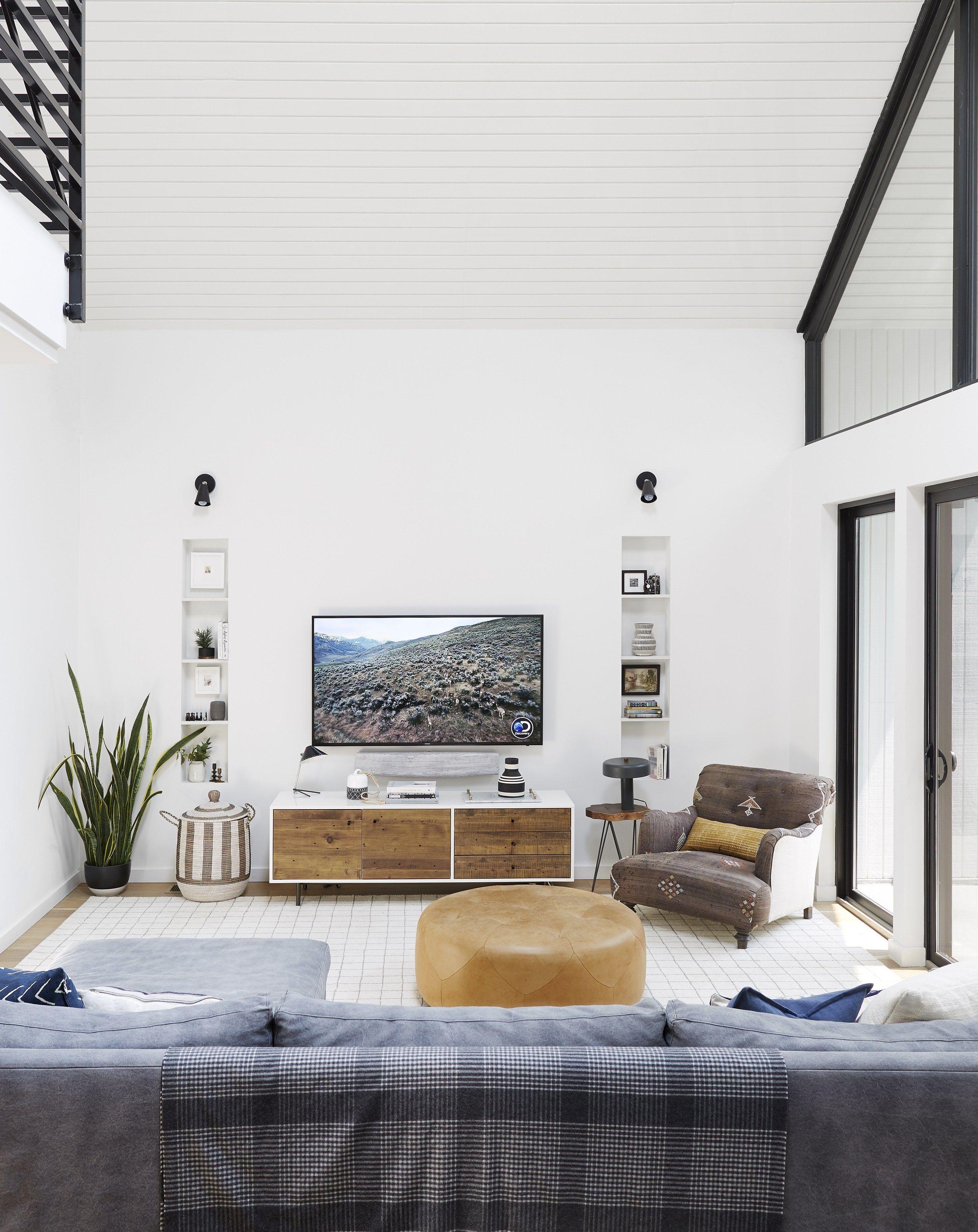 Bright Modern Kid Friendly Cozy Comfortable Family Tv Room Emily