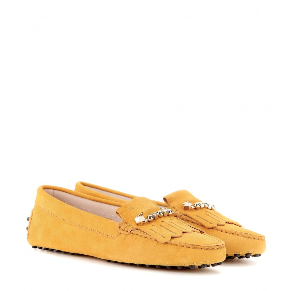 Finish a preppy look with Tod's iconic suede loafers We love the graphic fringe and paper clip style