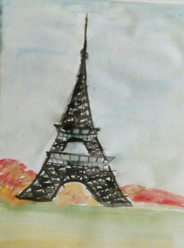Eiffel tower using Arcylic paints , just do it neatly and carefully !!!!!