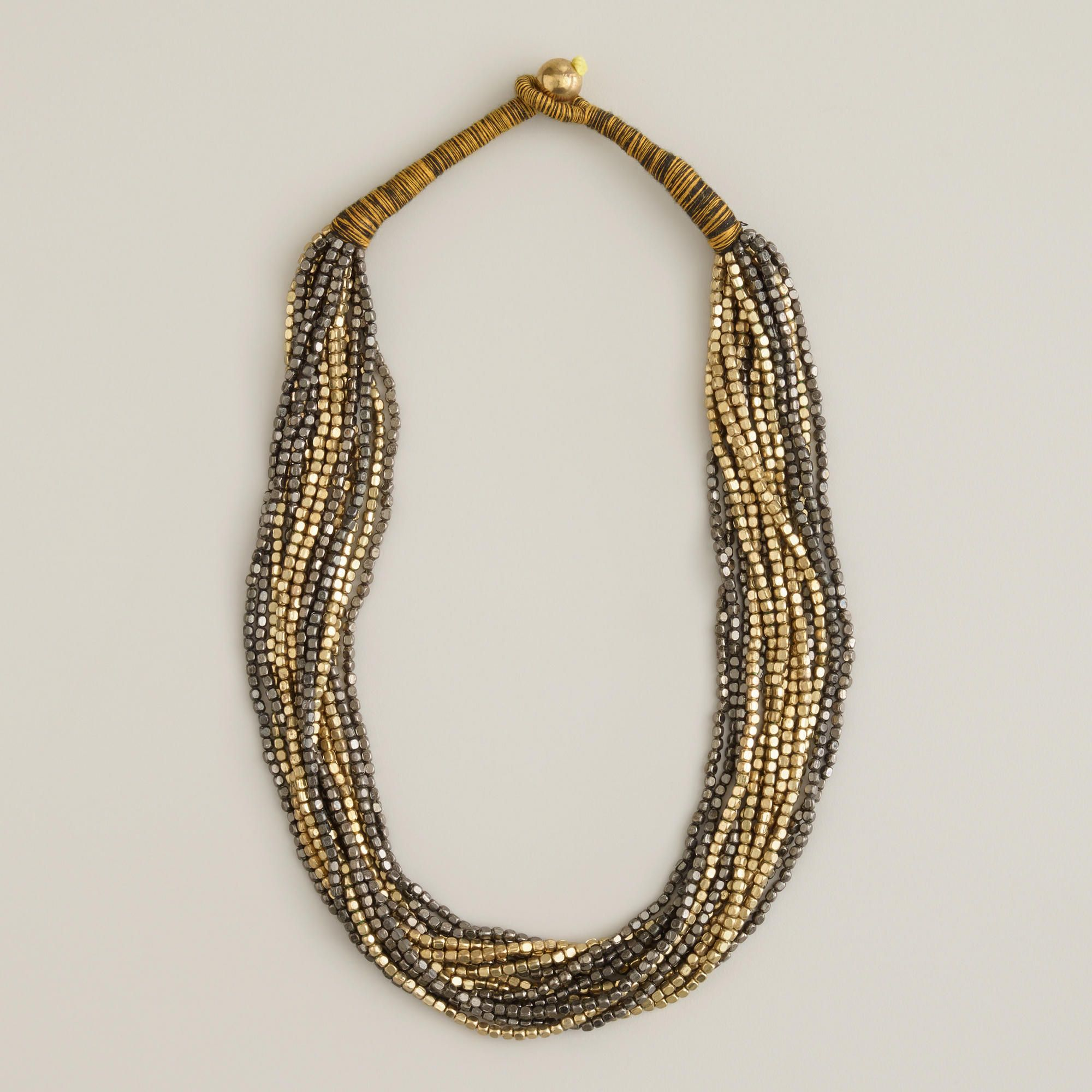 Gold and Gunmetal Indian Bead Necklace   World Market ...
