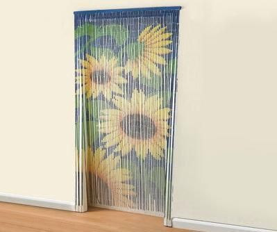 Attrayant £13 BAMBOO SUNFLOWER DOOR BEADED CURTAIN INSECTS FLY SCREEN