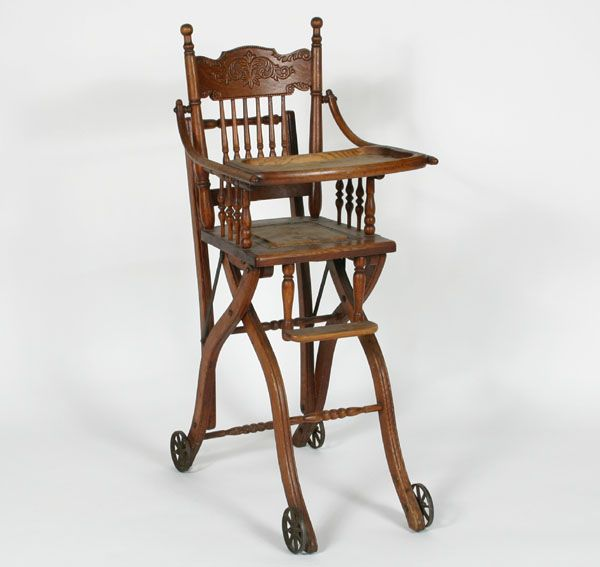 Antique Victorian children\'s oak high chair converts to stroller with iron  wheels. - Antique Victorian Children\'s Oak High Chair Converts To Stroller