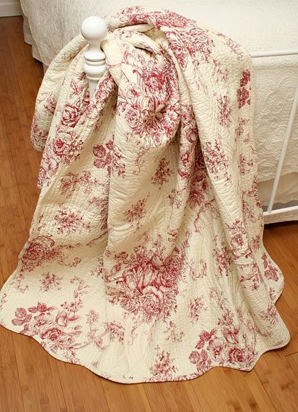 french toile   Ballard French Country Red Toile Quilt Throw ... : toile quilts - Adamdwight.com