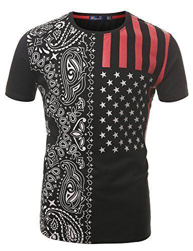 9bf0e461a2e80 SMITHJAY Mens Hipster Hip-Hop American Flag Paisley T-shirt | SHIRTS ...